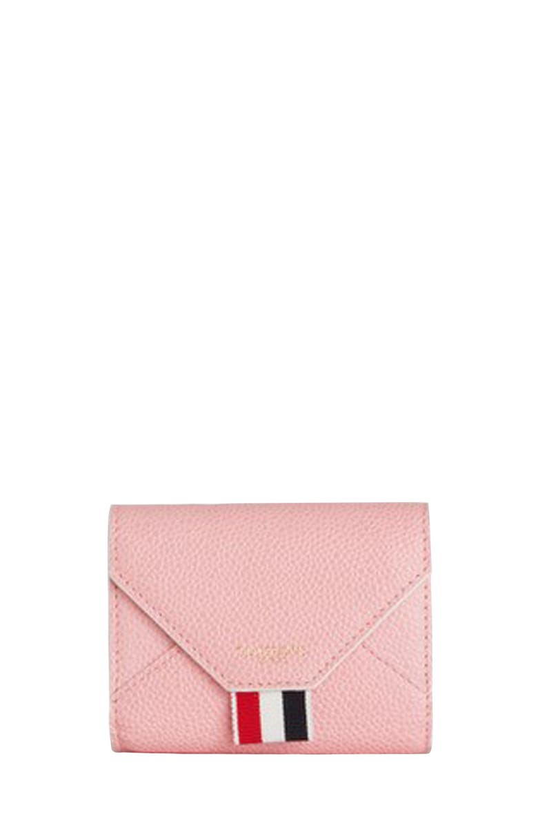 THOM BROWNE Leather Envelope Card Case, Main, color, LIGHT PINK