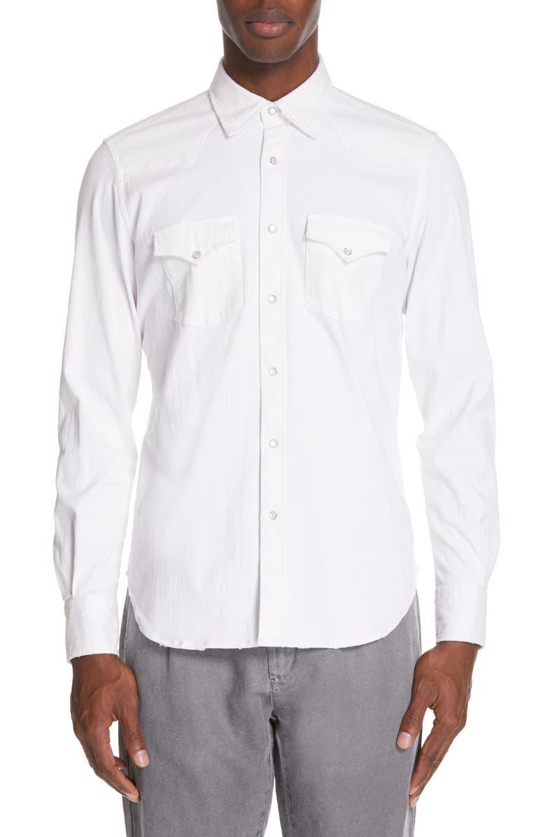 ELEVENTY Slim Fit Western Shirt, Main, color, WHITE