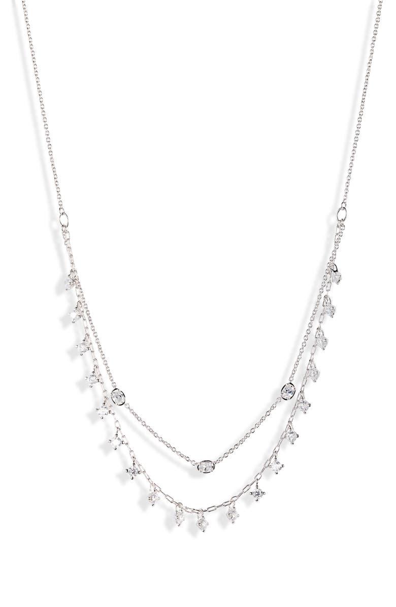 NADRI Shaky Cubic Zirconia Layered Necklace, Main, color, RHODIUM