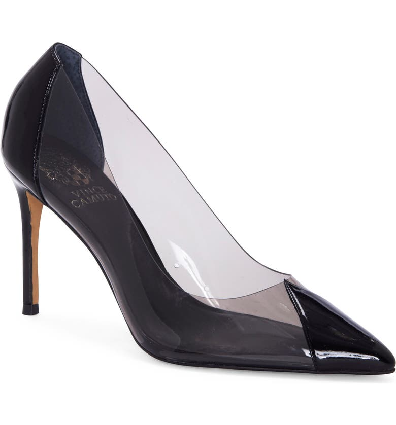 VINCE CAMUTO Poised Cap Toe Clear Pump, Main, color, SMOKE BLACK