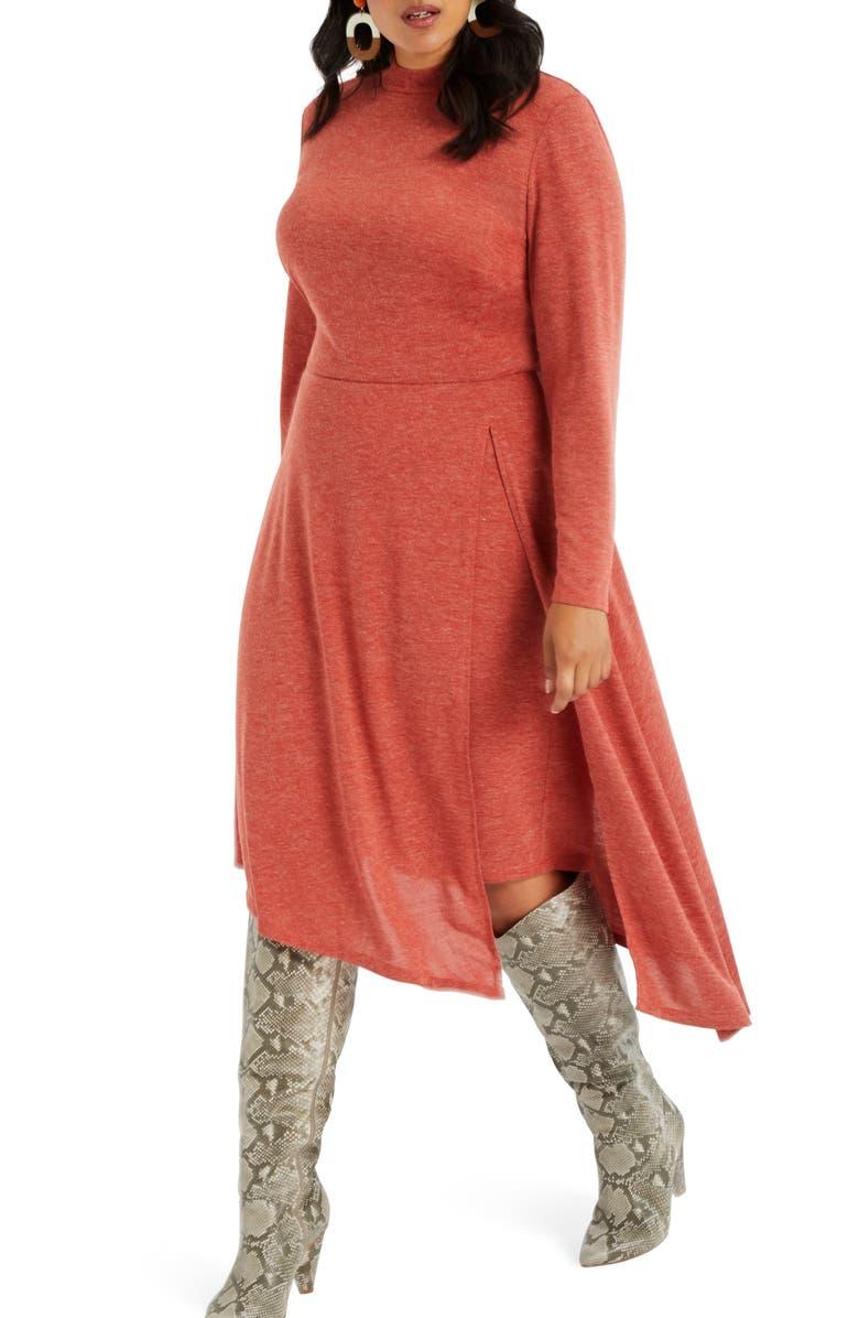 ELOQUII Asymmetrical Mock Neck Long Sleeve Dress, Main, color, 800