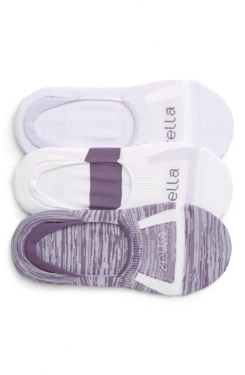 ZELLA 3-Pack No-Show Socks, Main, color, PURPLE THISTLE