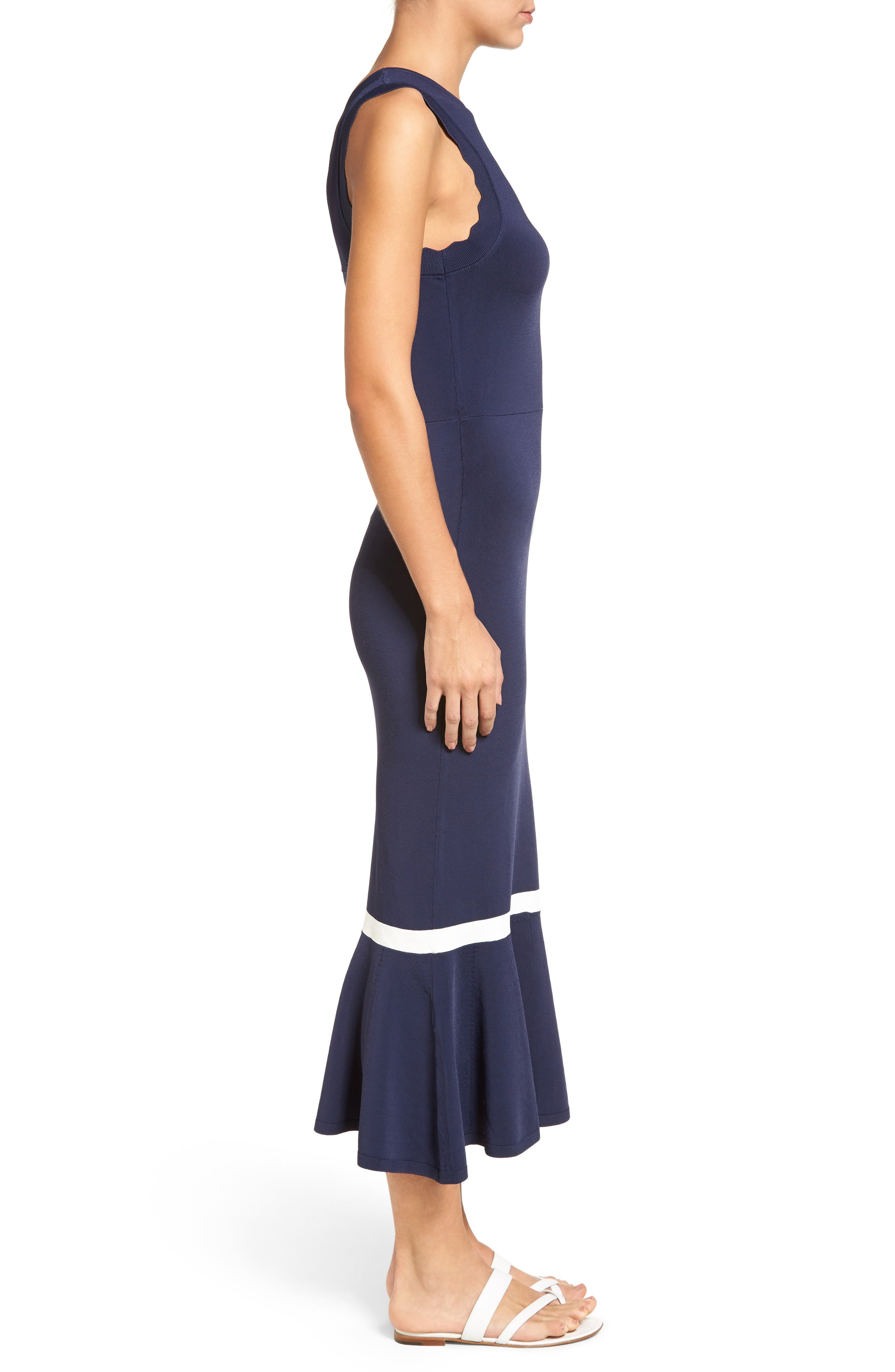 ,                             Zigzag Trim Maxi Dress,                             Alternate thumbnail 3, color,                             410