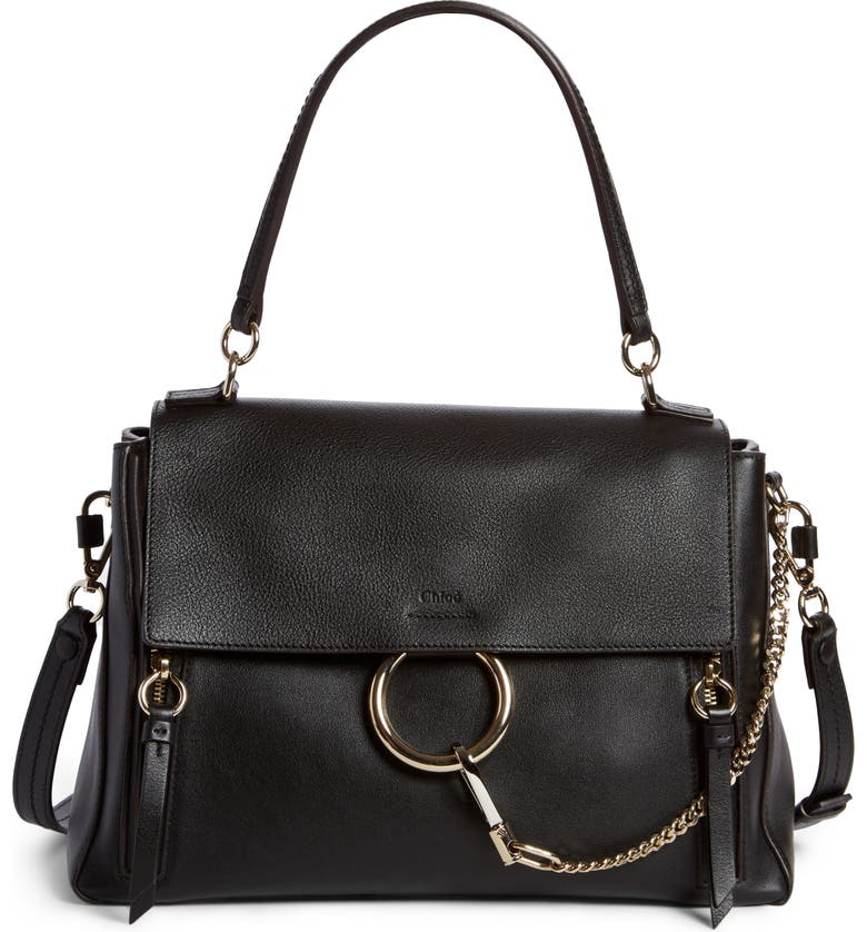 CHLOÉ Small Faye Day Leather Shoulder Bag, Main, color, BLACK