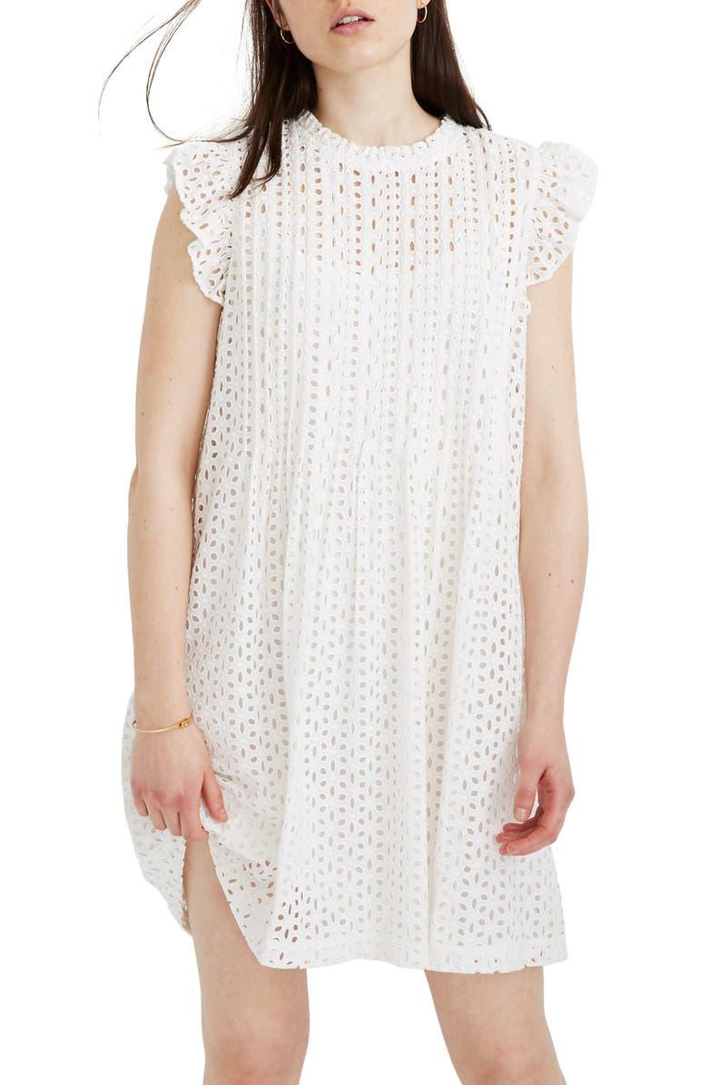MADEWELL Eyelet Ruffle Sleeve Pintuck Minidress, Main, color, LIGHTHOUSE
