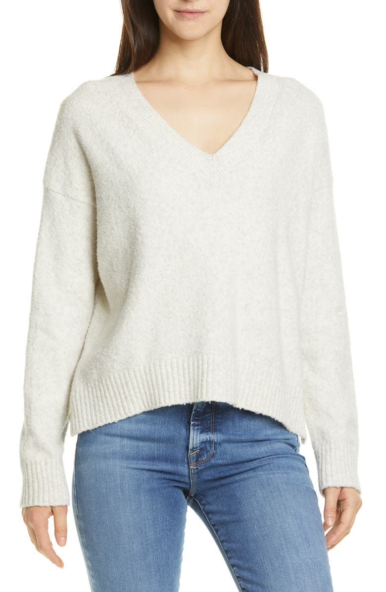 VINCE Textured V-Neck Sweater, Main, color, HEATHER WHITE