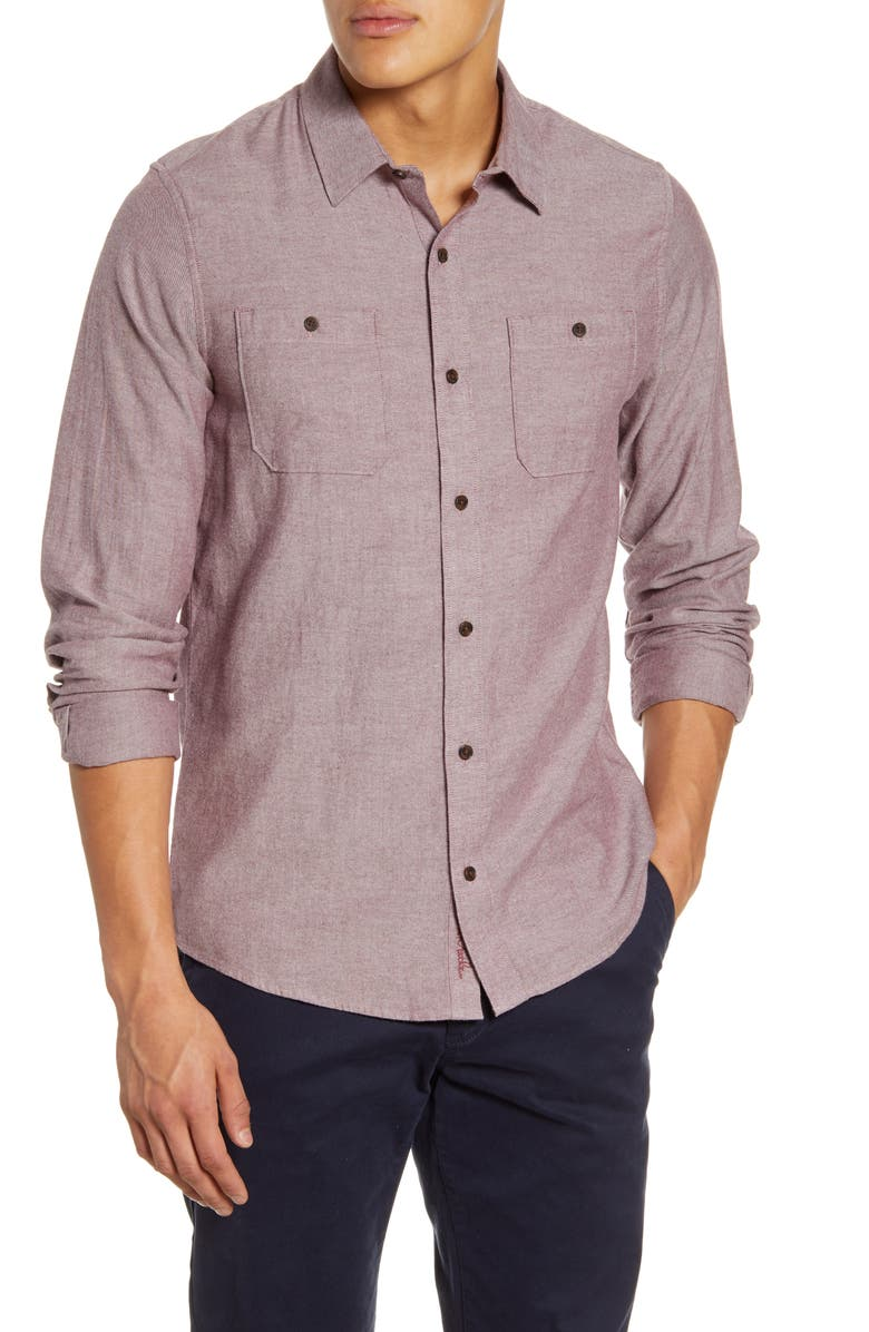 TRAVISMATHEW Travis Mathew Hefe Regular Fit Flannel Sport Shirt, Main, color, TAWNY PORT