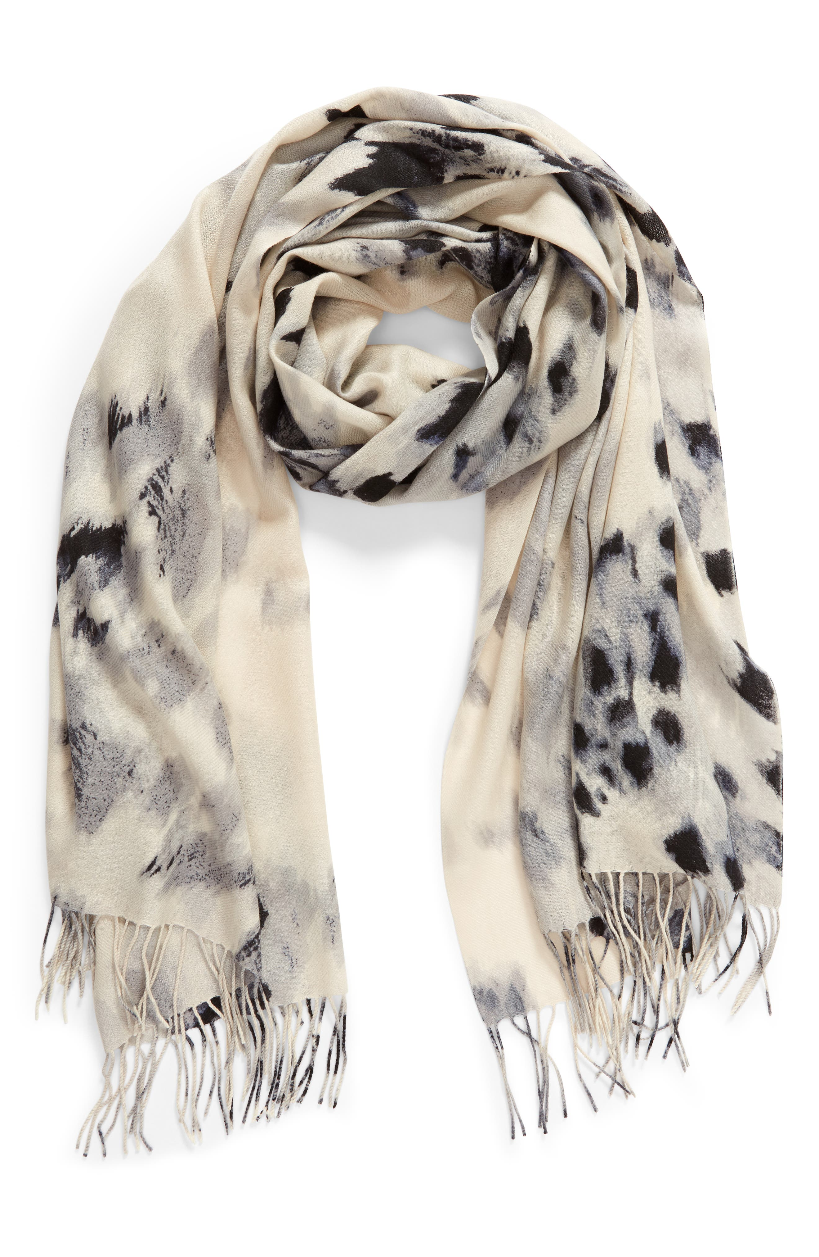 ,                             Tissue Print Wool & Cashmere Wrap Scarf,                             Alternate thumbnail 2, color,                             GREY FEATHERED CAT