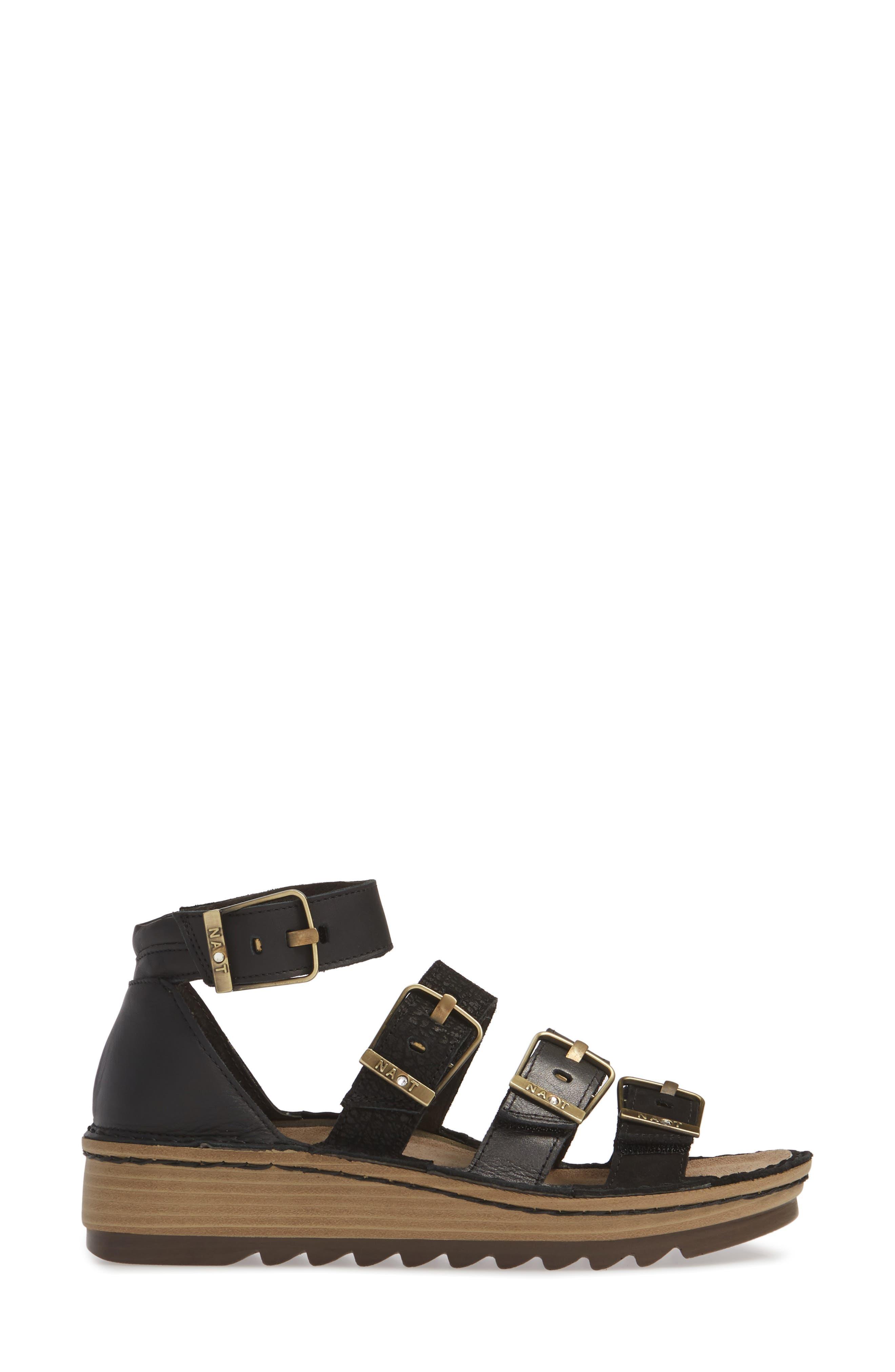 ,                             'Begonia' Sandal,                             Alternate thumbnail 3, color,                             BLACK/ BLACK LEATHER