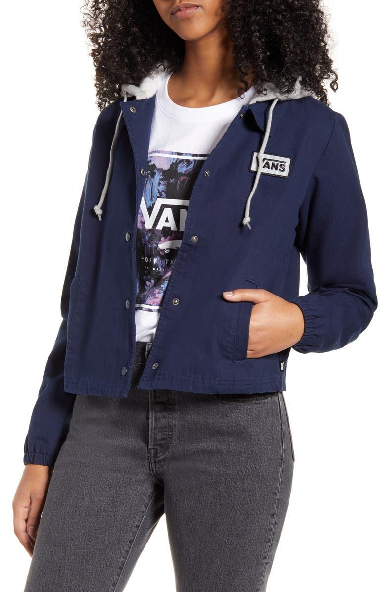 VANS Filter Thanks Canvas Coach's Jacket, Main, color, DRESS BLUES