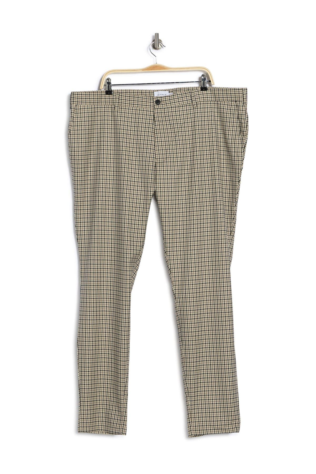 Image of TOPMAN Check Straight Leg Button Trousers