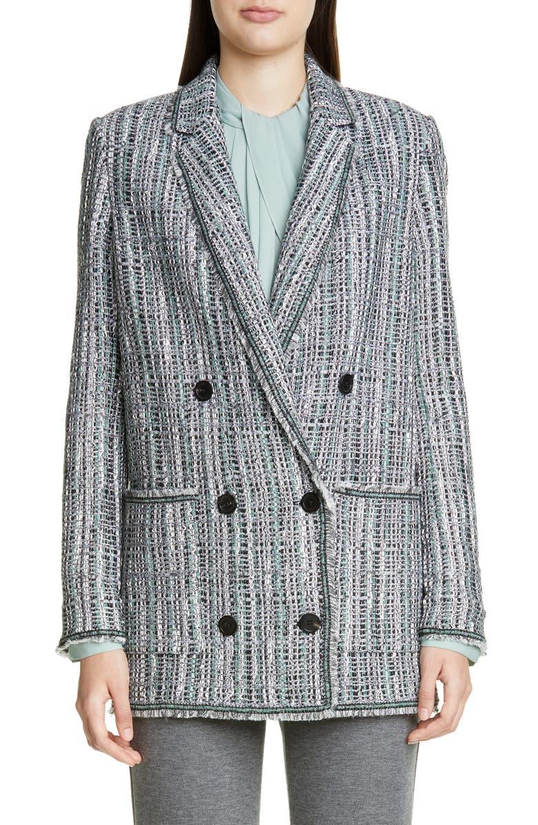 ST. JOHN COLLECTION Ribbon Textured Inlay Knit Jacket, Main, color, JADE MULTI