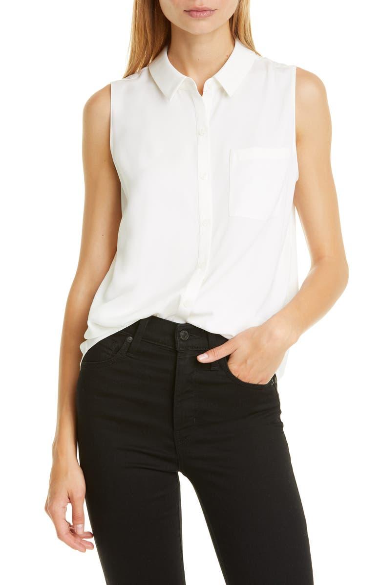 NORDSTROM SIGNATURE Sleeveless Stretch Silk Shirt, Main, color, IVORY CLOUD