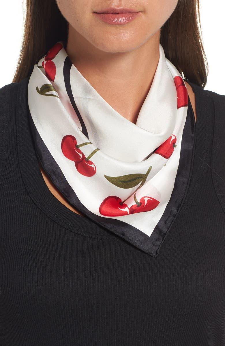 KATE SPADE NEW YORK cherry silk bandana, Main, color, 100