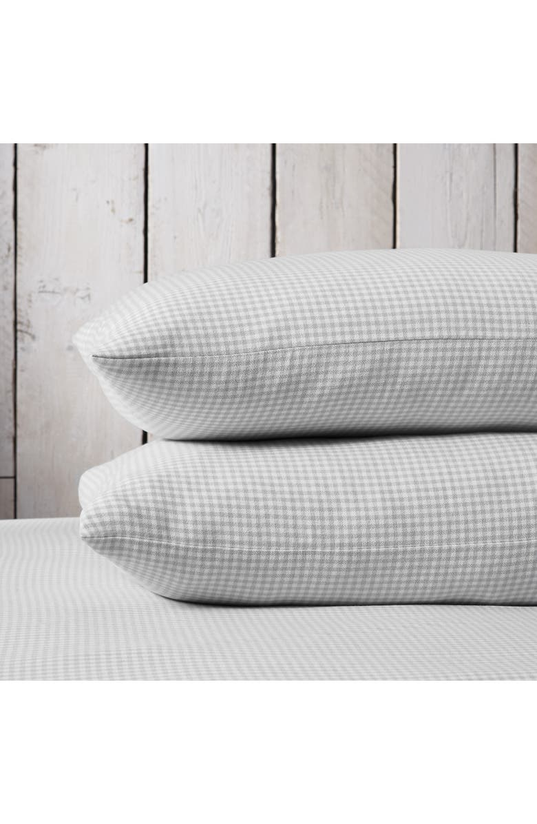 THE WHITE COMPANY Harrington Flannel Pillowcase, Main, color, SOFT GREY