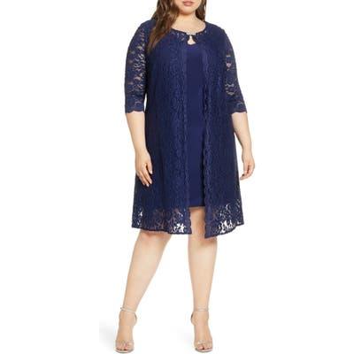 Plus Size Alex Evenings Lace Mock Jacket Cocktail Dress, Blue