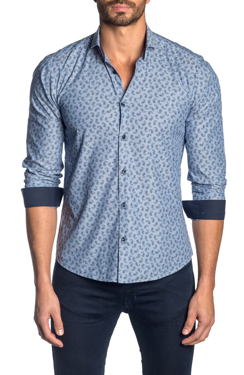 JARED LANG Regular Fit Paisley Shirt, Main, color, 430