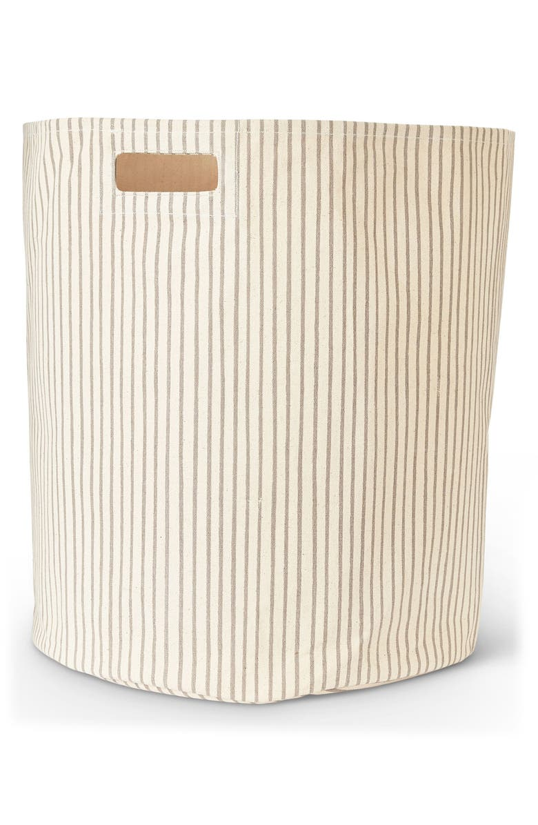 PEHR Stripes Away Canvas Hamper, Main, color, PEBBLE