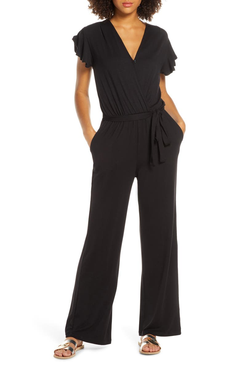 FRAICHE BY J Flutter Sleeve Jumpsuit, Main, color, BLACK