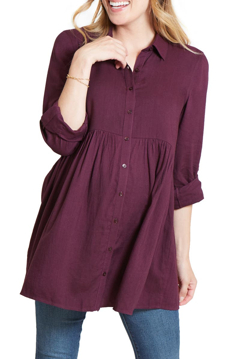 INGRID & ISABEL<SUP>®</SUP> Peplum Button Front Maternity Top, Main, color, PLUM