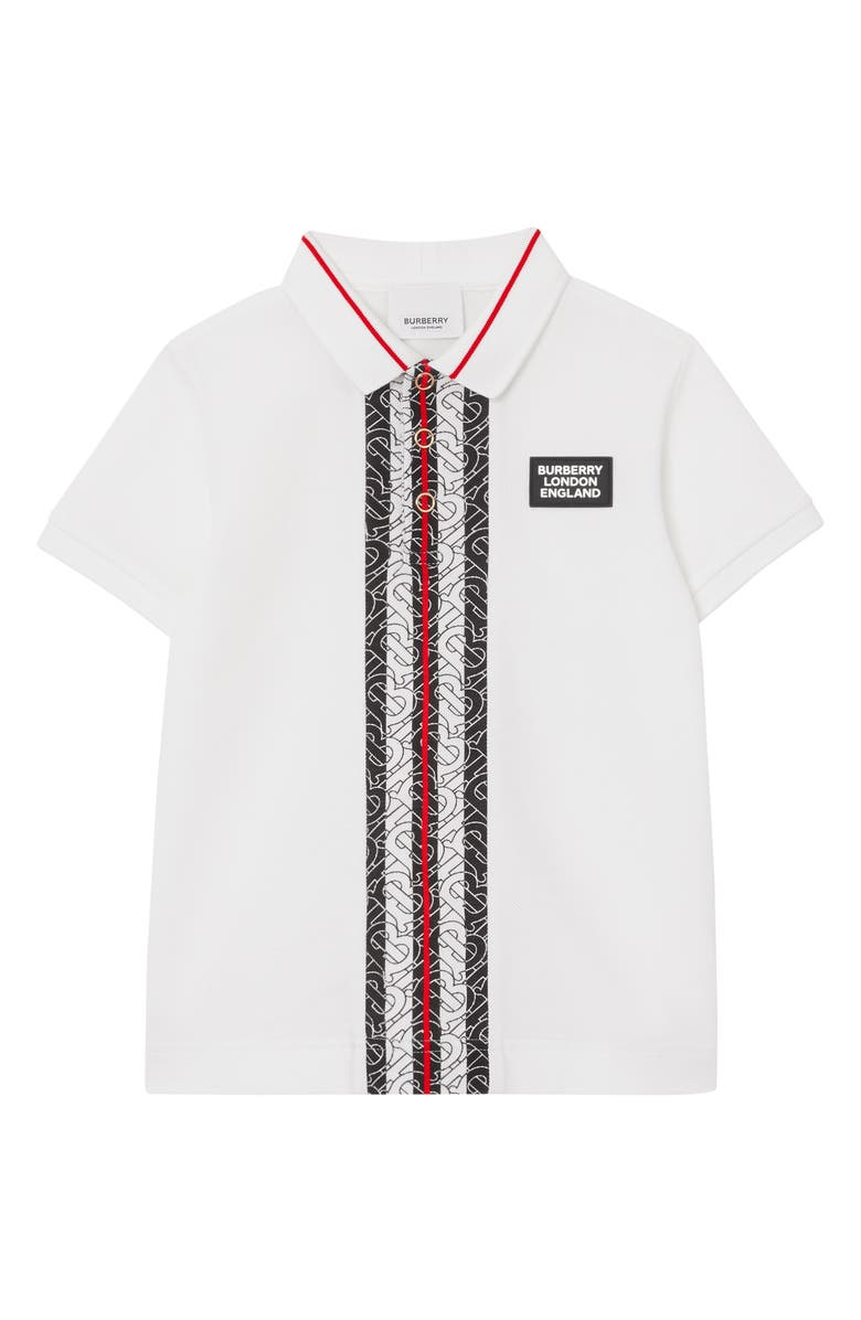 BURBERRY Joseph Monogram Stripe Piqué Polo Shirt, Main, color, WHITE