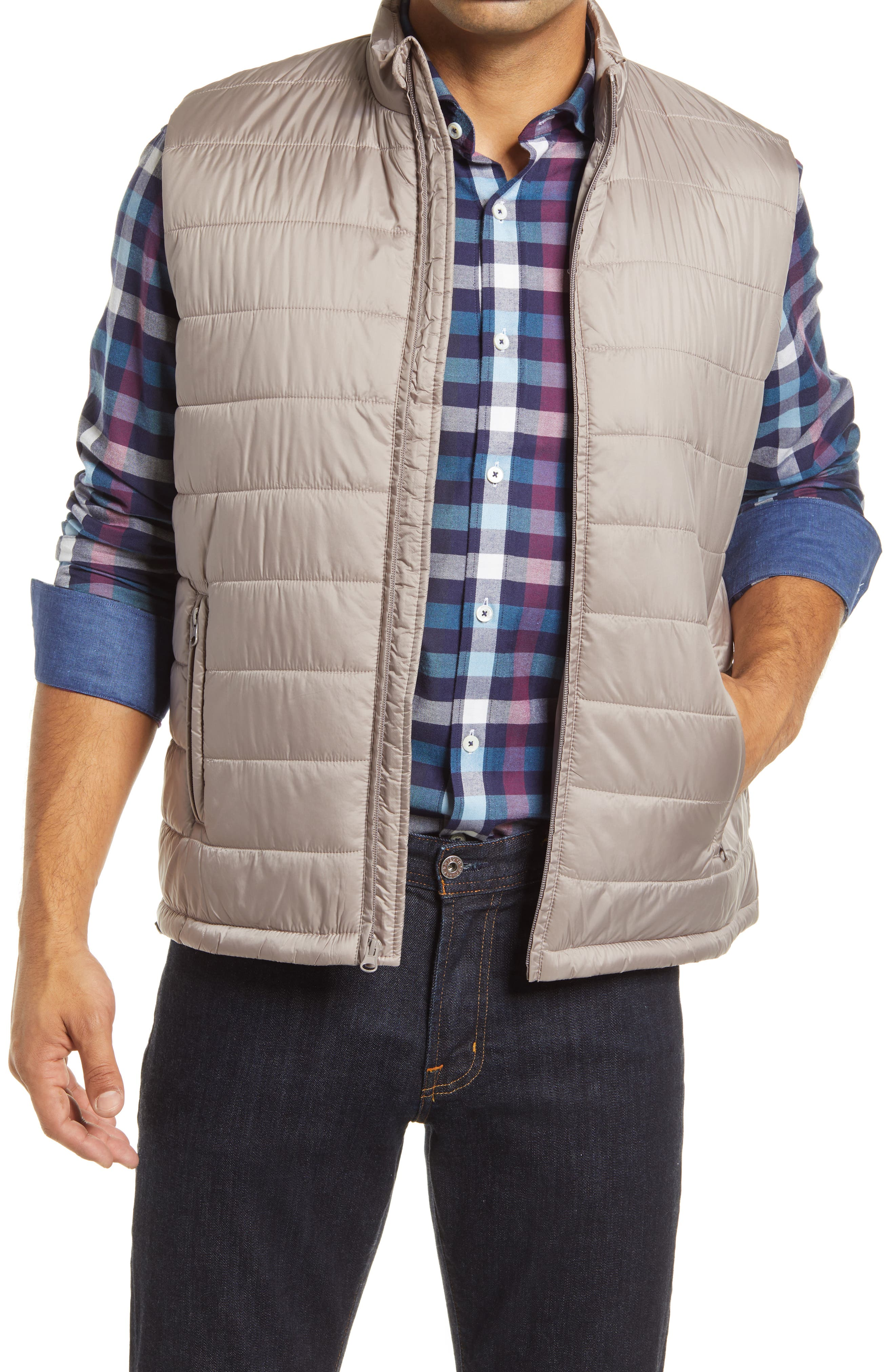 Bold channel quilting touches up a vest crafted with a drawcord hem for a customizable fit. Style Name: Bugatchi Quilted Vest. Style Number: 6129641. Available in stores.