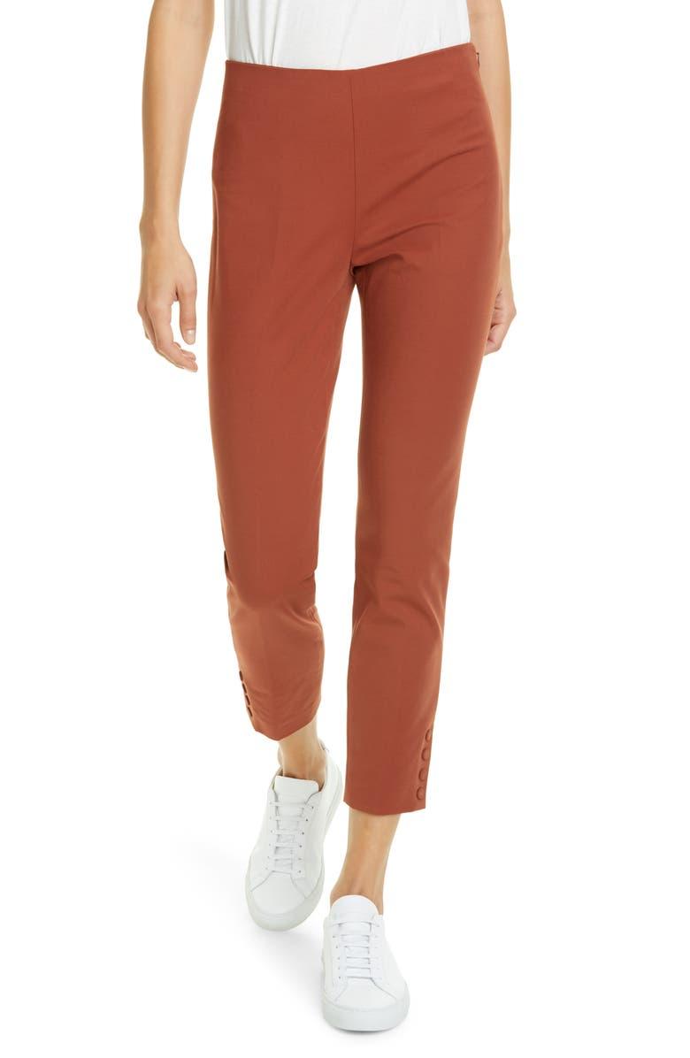 THEORY Stretch Cotton Crop Pants, Main, color, COGNAC