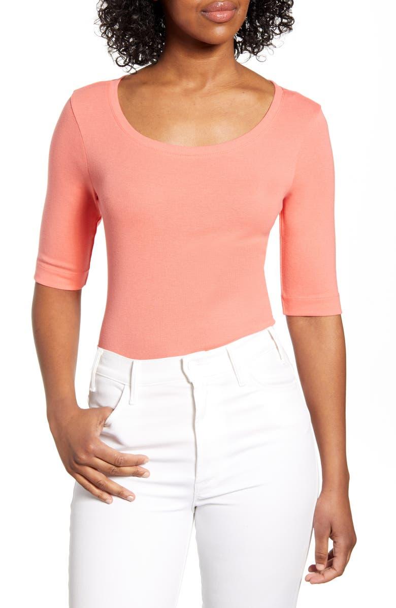 CASLON<SUP>®</SUP> Ballet Neck Cotton & Modal Knit Elbow Sleeve Tee, Main, color, 959