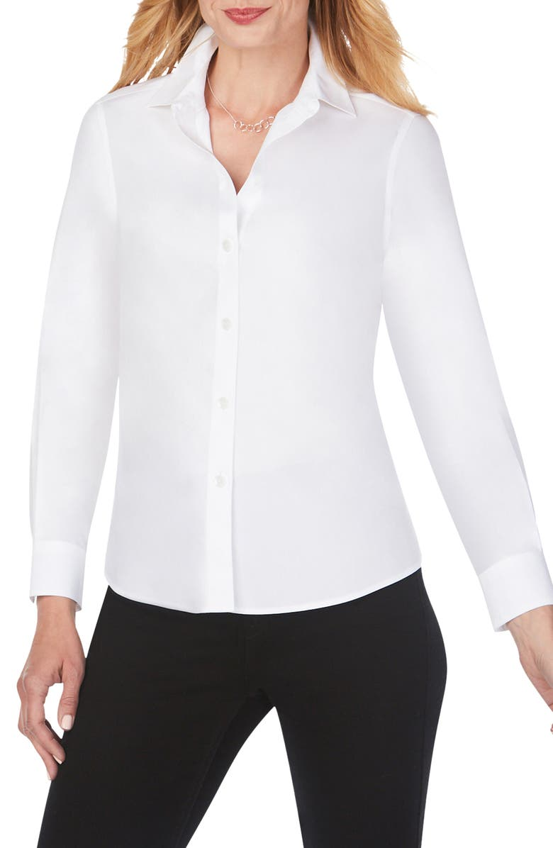 FOXCROFT Diane Solid Button-Up Shirt, Main, color, White