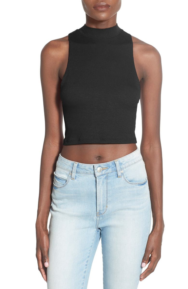 BP. Mock Neck Crop Tank, Main, color, 001