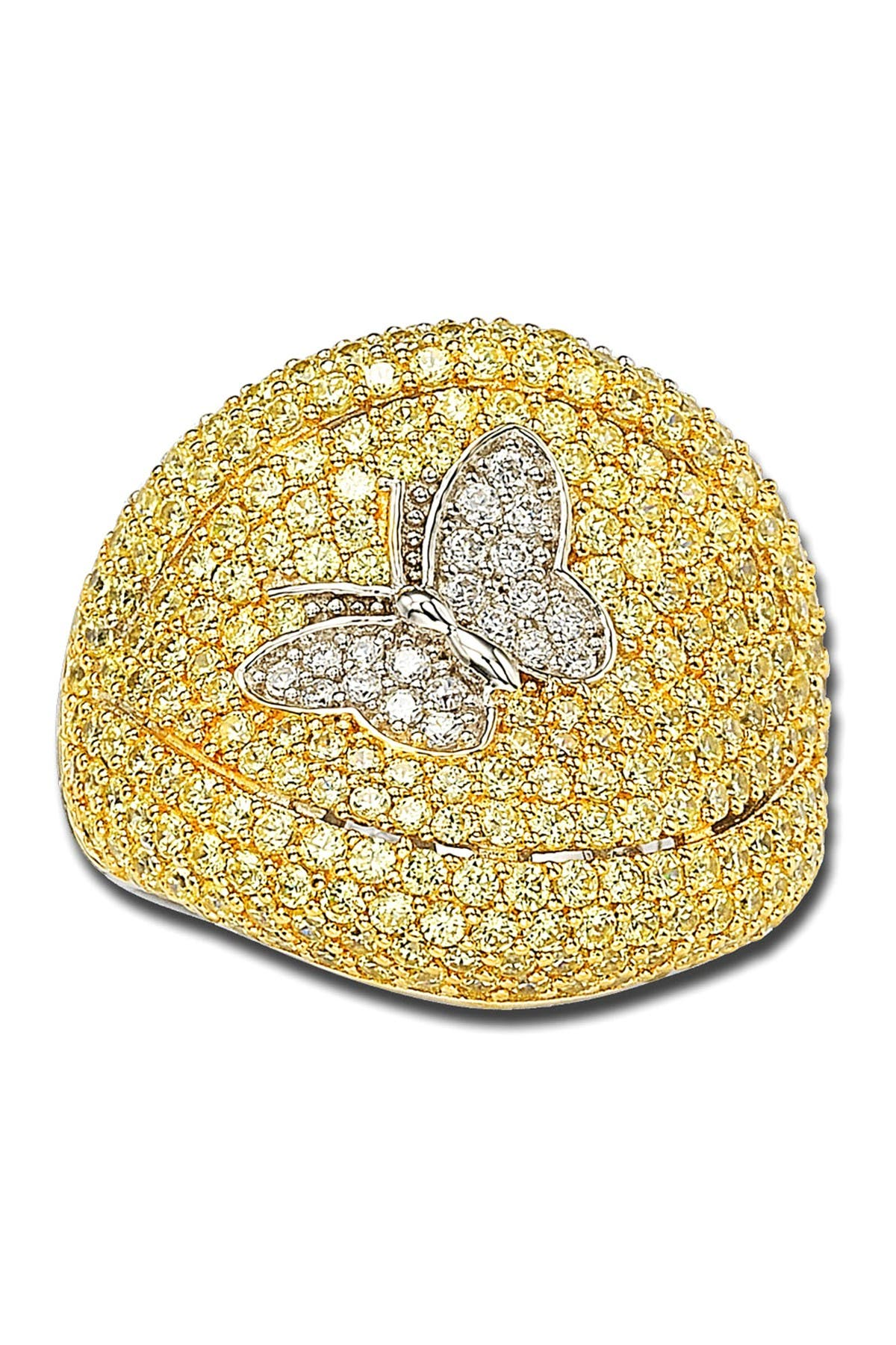 Image of Suzy Levian Sterling Silver Yellow & White CZ Pave Ring