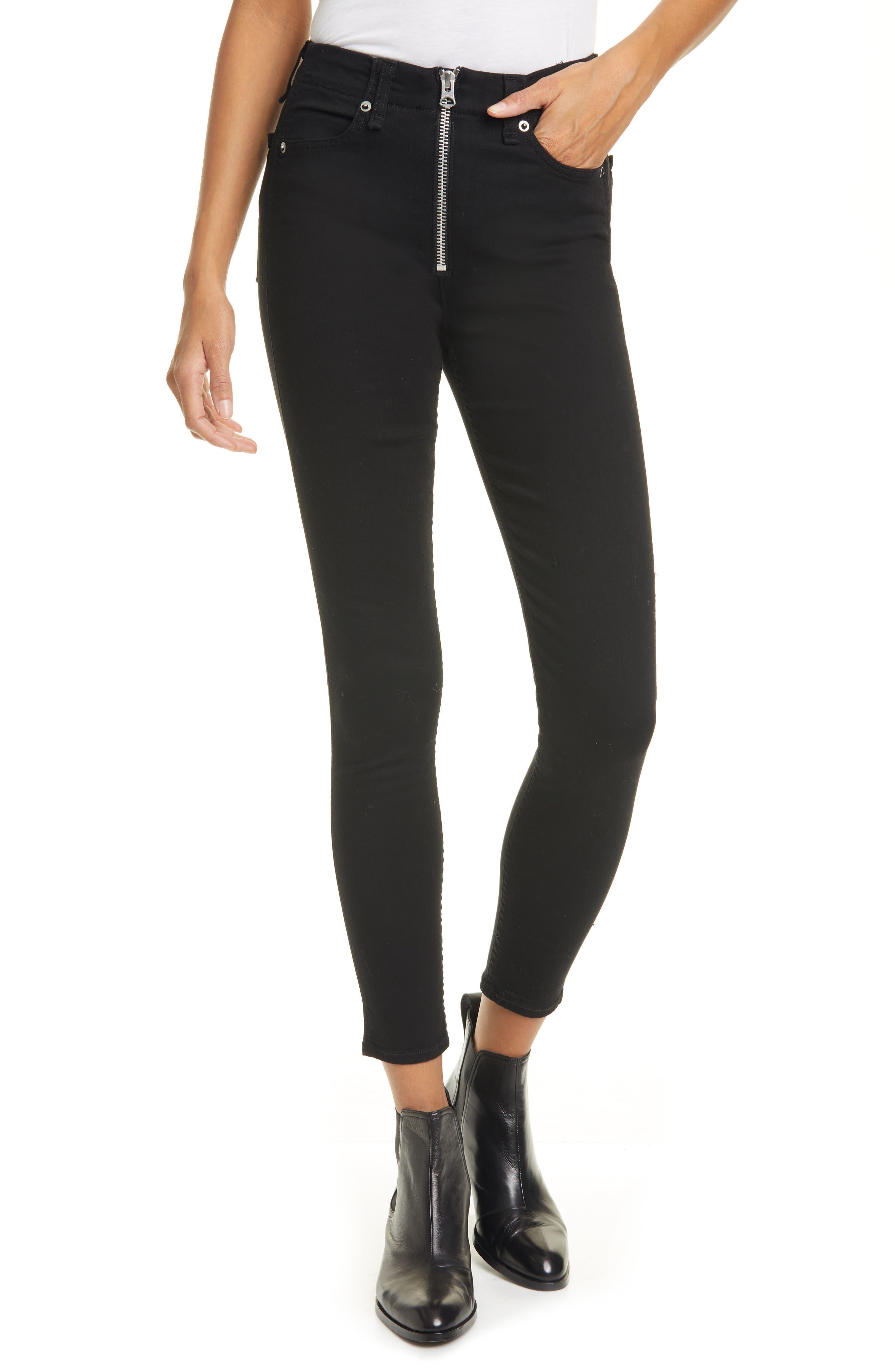 Women's Rag & Bone Nina High Waist Ankle Skinny Jeans,  25 - Black