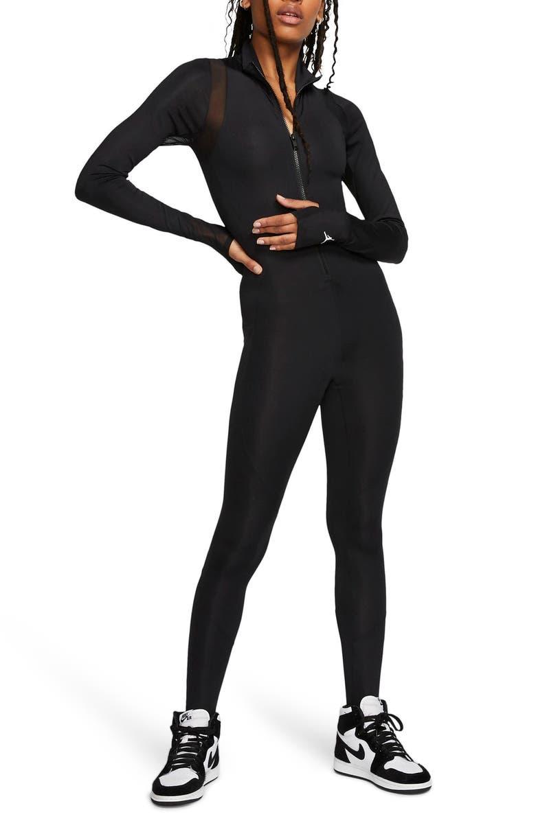 JORDAN Nike Jordan Flight Zip Bodysuit, Main, color, BLACK/ WHITE