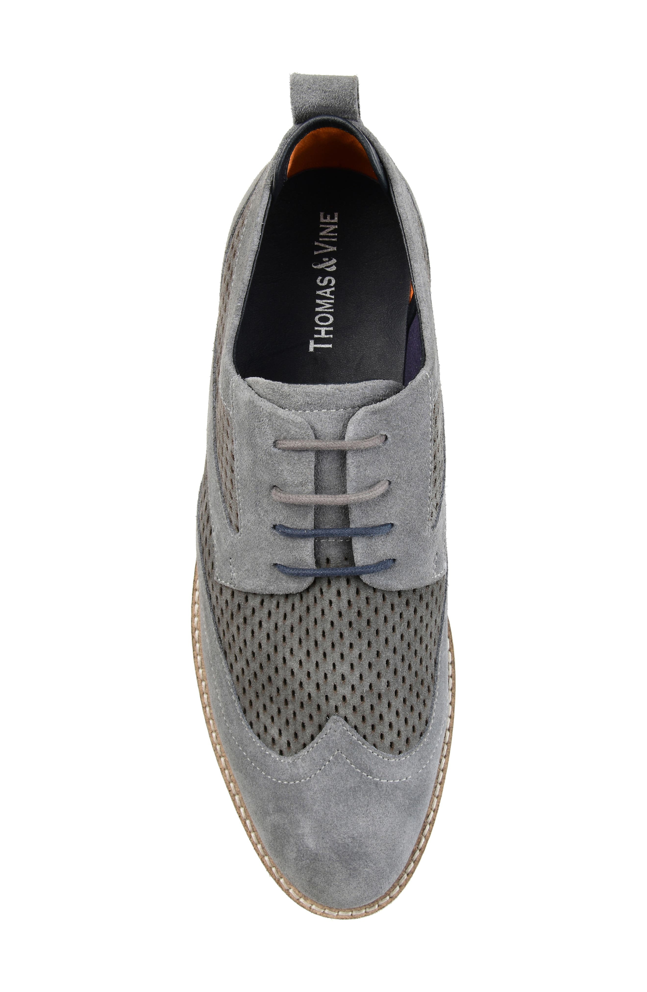 ,                             Jett Perforated Wingtip,                             Alternate thumbnail 5, color,                             GREY SUEDE