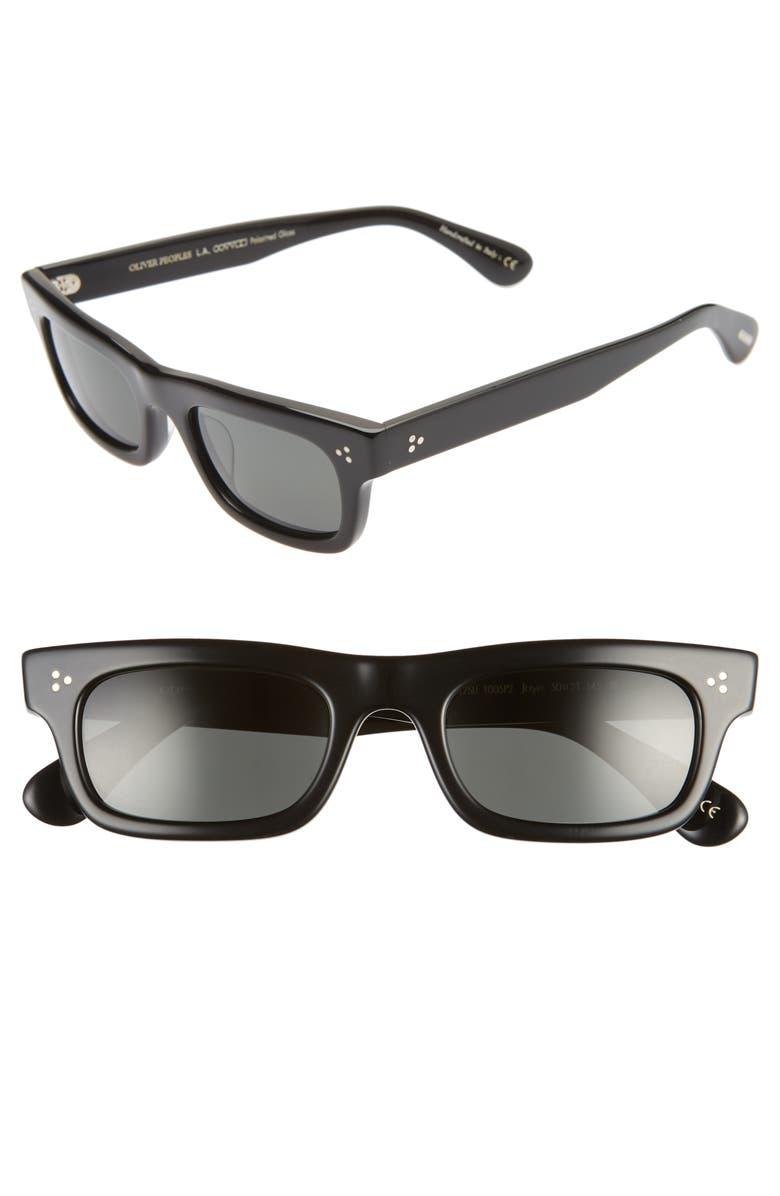 OLIVER PEOPLES Jaye Sun 50mm Polarized Rectangle Sunglasses, Main, color, BLACK/ MIDNIGHT EXPRESS POLAR