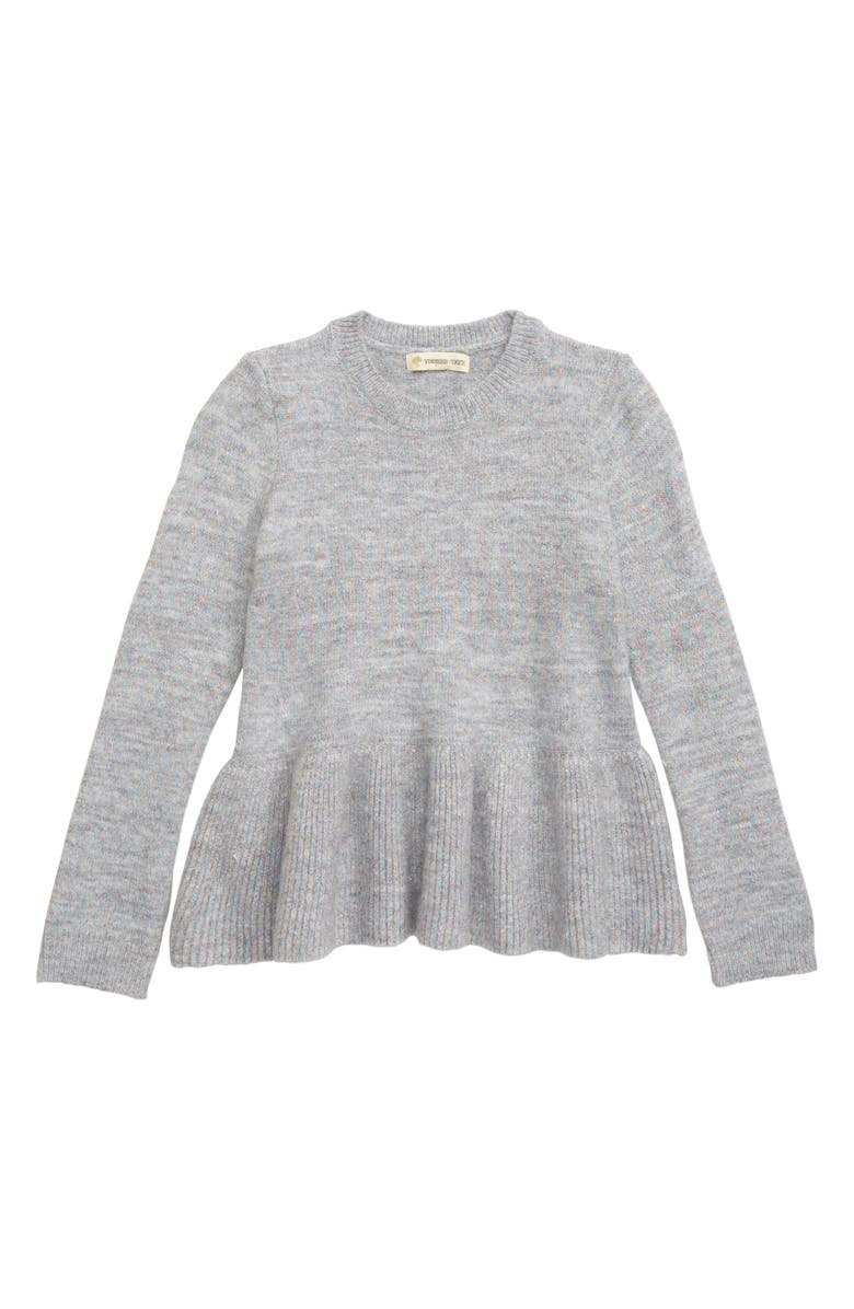 TUCKER + TATE Sparkle Peplum Sweater, Main, color, GREY ASH HEATHER SPARKLE