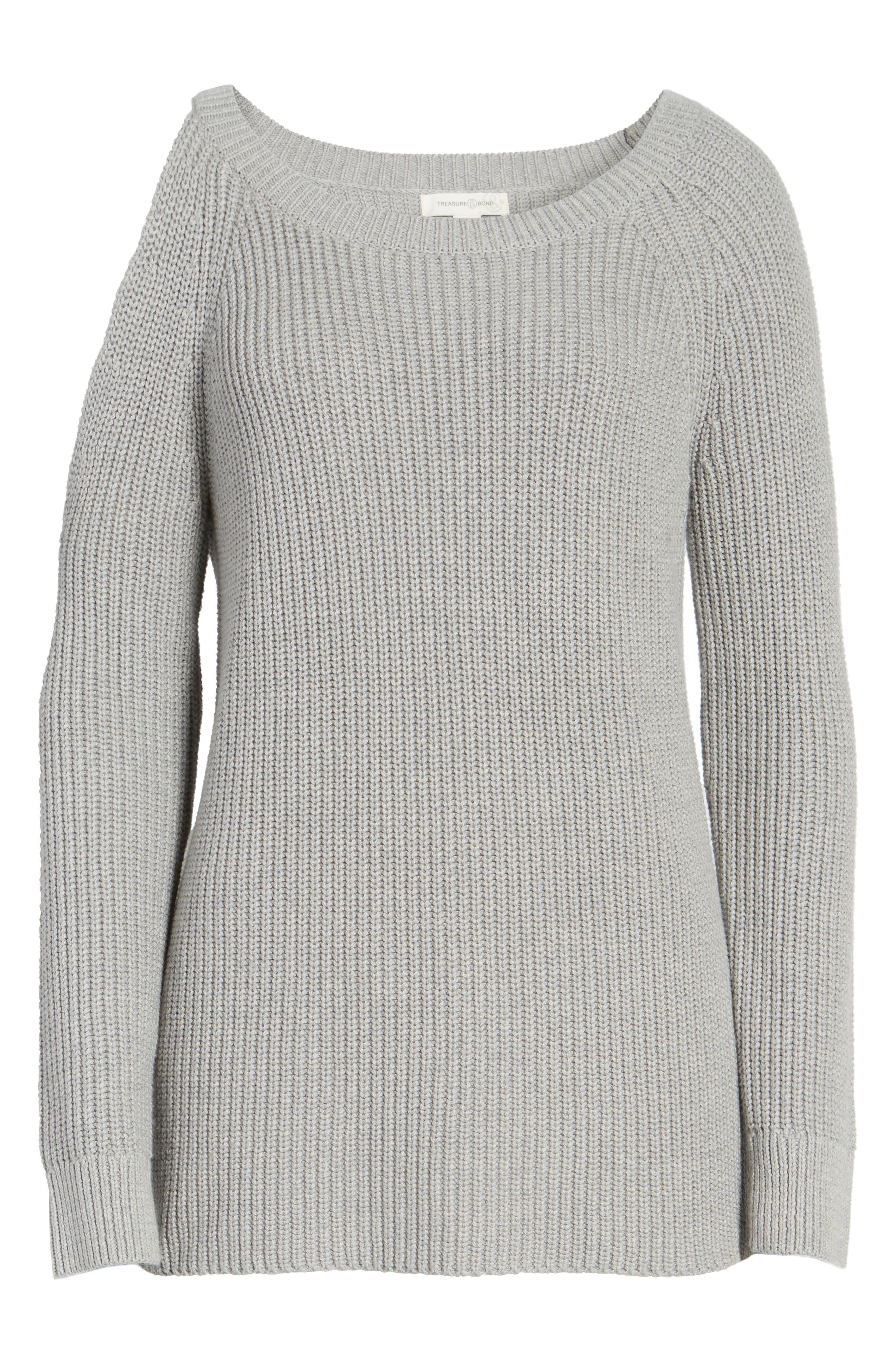 ,                             Asymmetrical Cold Shoulder Sweater,                             Alternate thumbnail 6, color,                             020