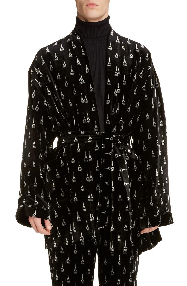 BALENCIAGA Eiffel Tower Velvet Pyjama Jacket, Main, color, BLACK