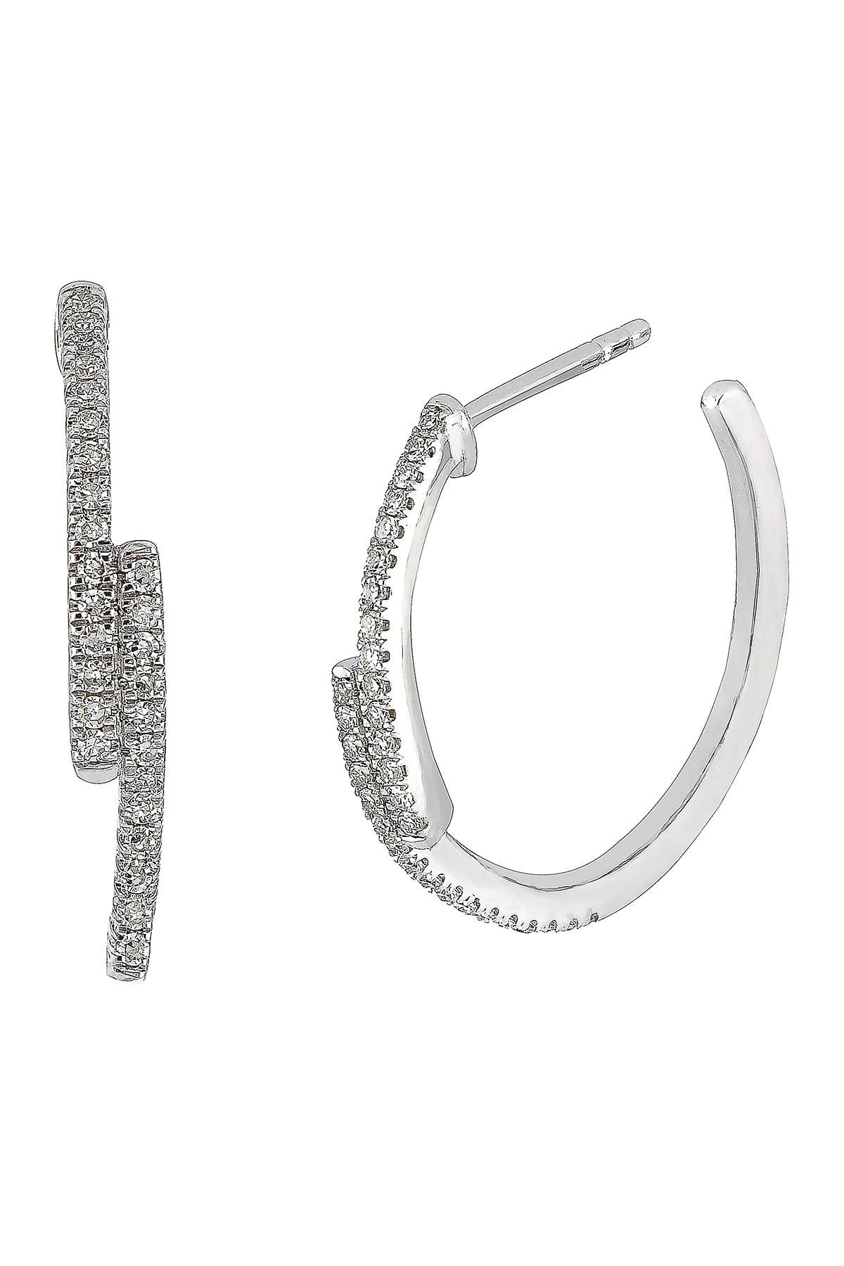 Image of Carriere Sterling Silver Pave Diamond Staggered Hoop Earrings - 0.20 ctw