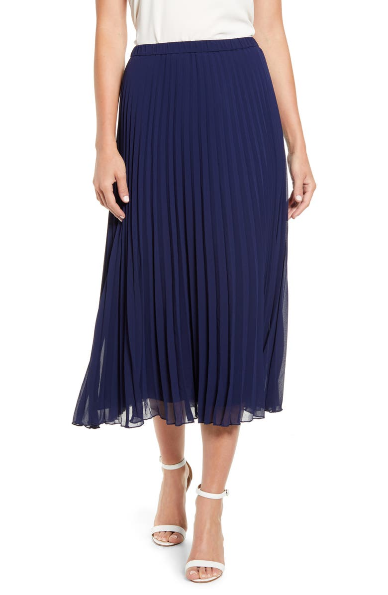 ANNE KLEIN Pleated Georgette Midi Skirt, Main, color, ECLISPE