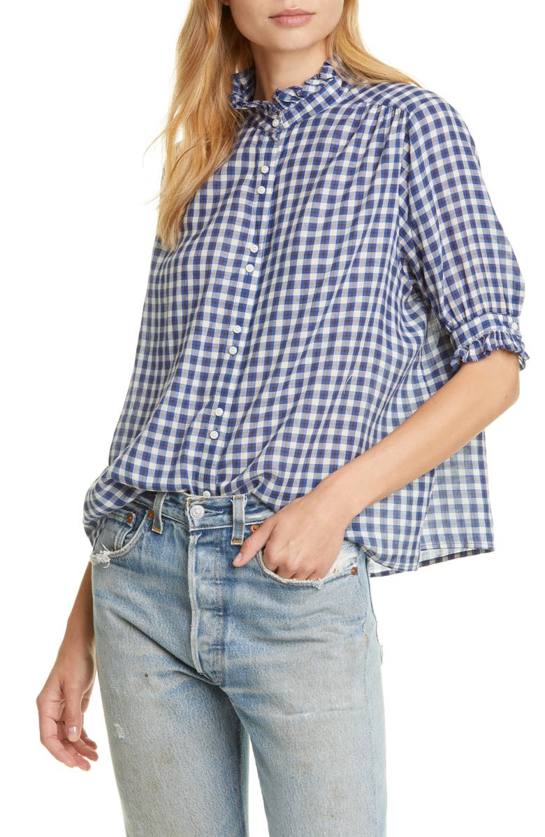 THE GREAT. The Cedar Plaid Shirt, Main, color, TUTOR PLAID