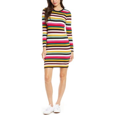 Ali & Jay Fun Fridays Long Sleeve Stripe Sweater Minidress, Pink