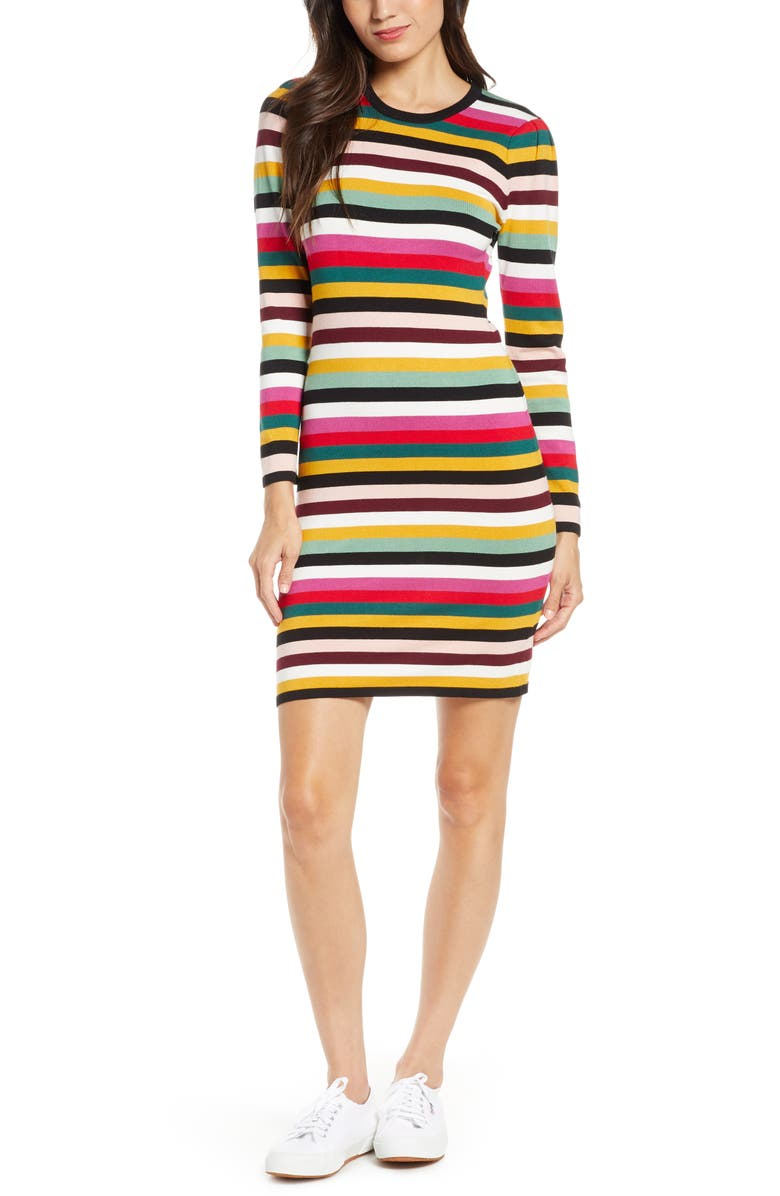 ALI & JAY Fun Fridays Long Sleeve Stripe Sweater Minidress, Main, color, MULTI STRIPE