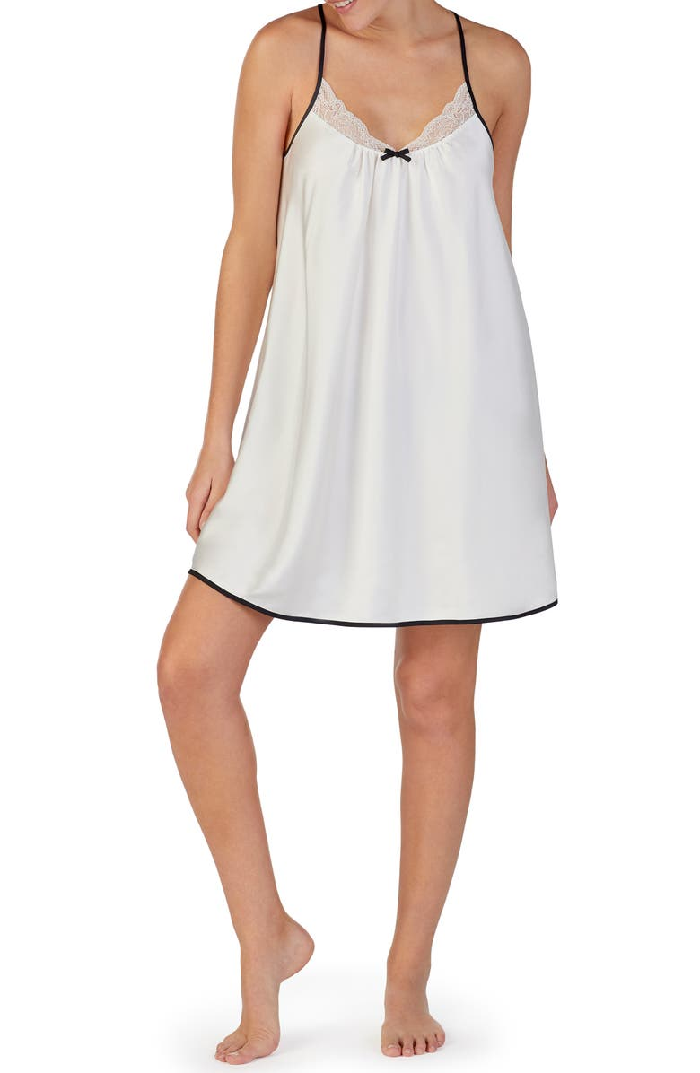 KATE SPADE NEW YORK lace trim chemise, Main, color, OFF-WHITE