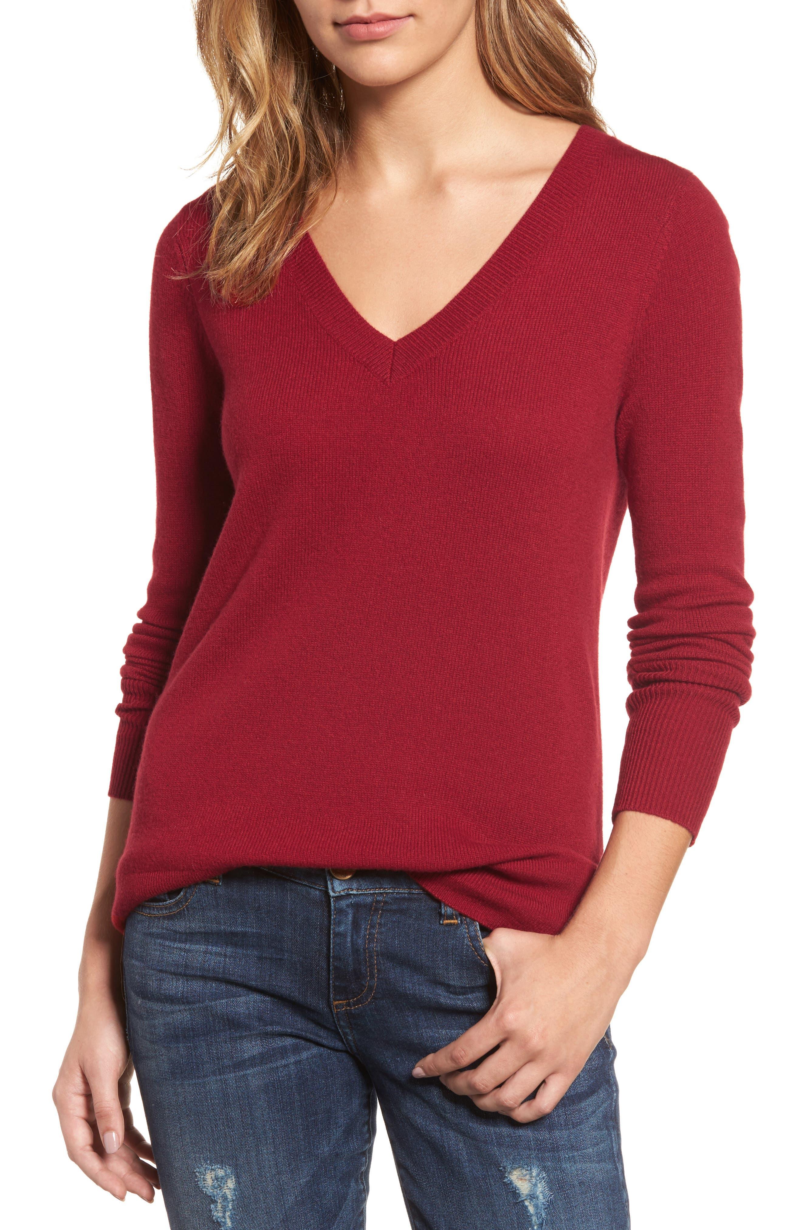 ,                             V-Neck Cashmere Sweater,                             Main thumbnail 92, color,                             601