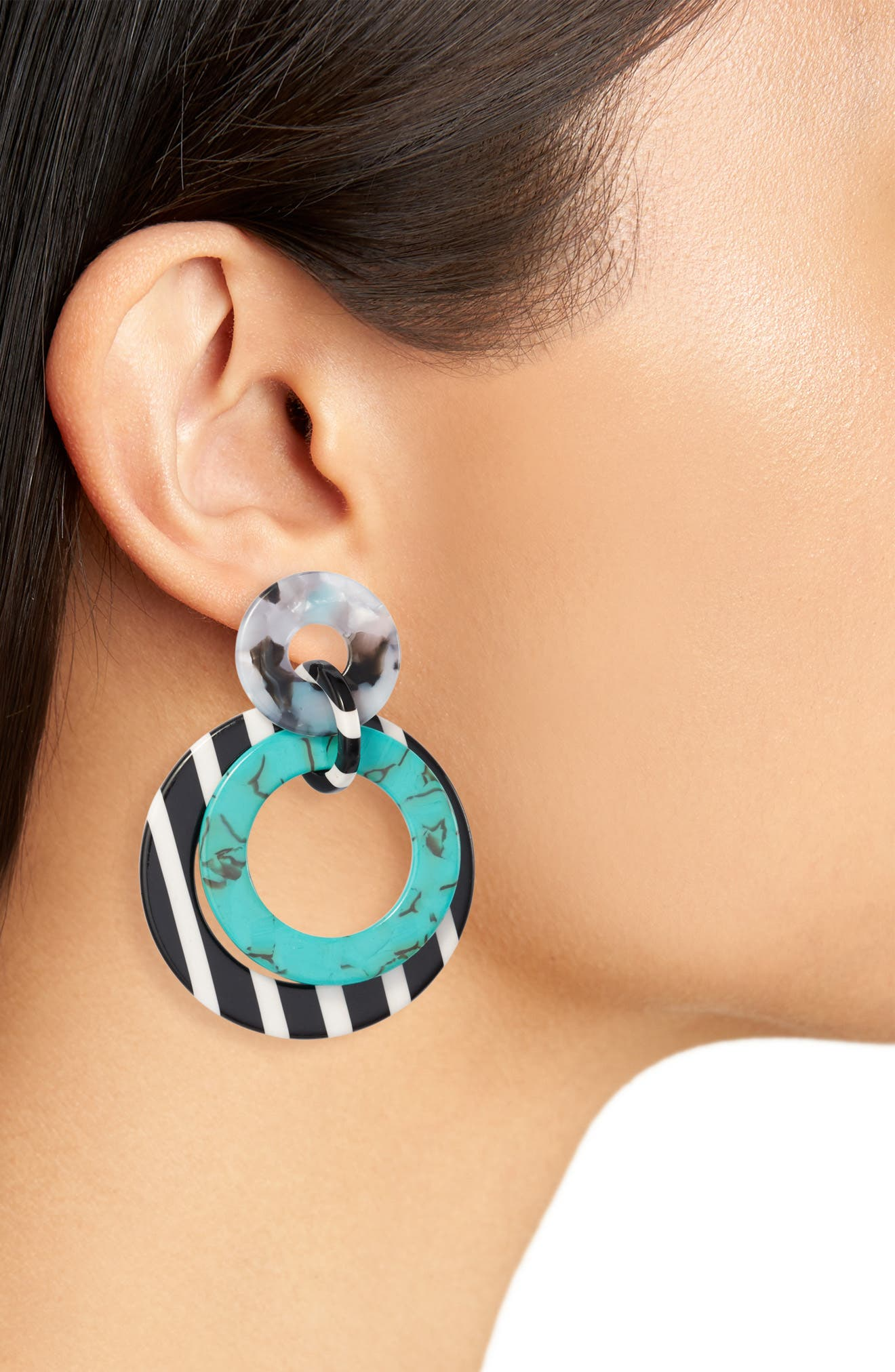 ,                             Banded Hoop Earrings,                             Alternate thumbnail 2, color,                             TURQUOISE