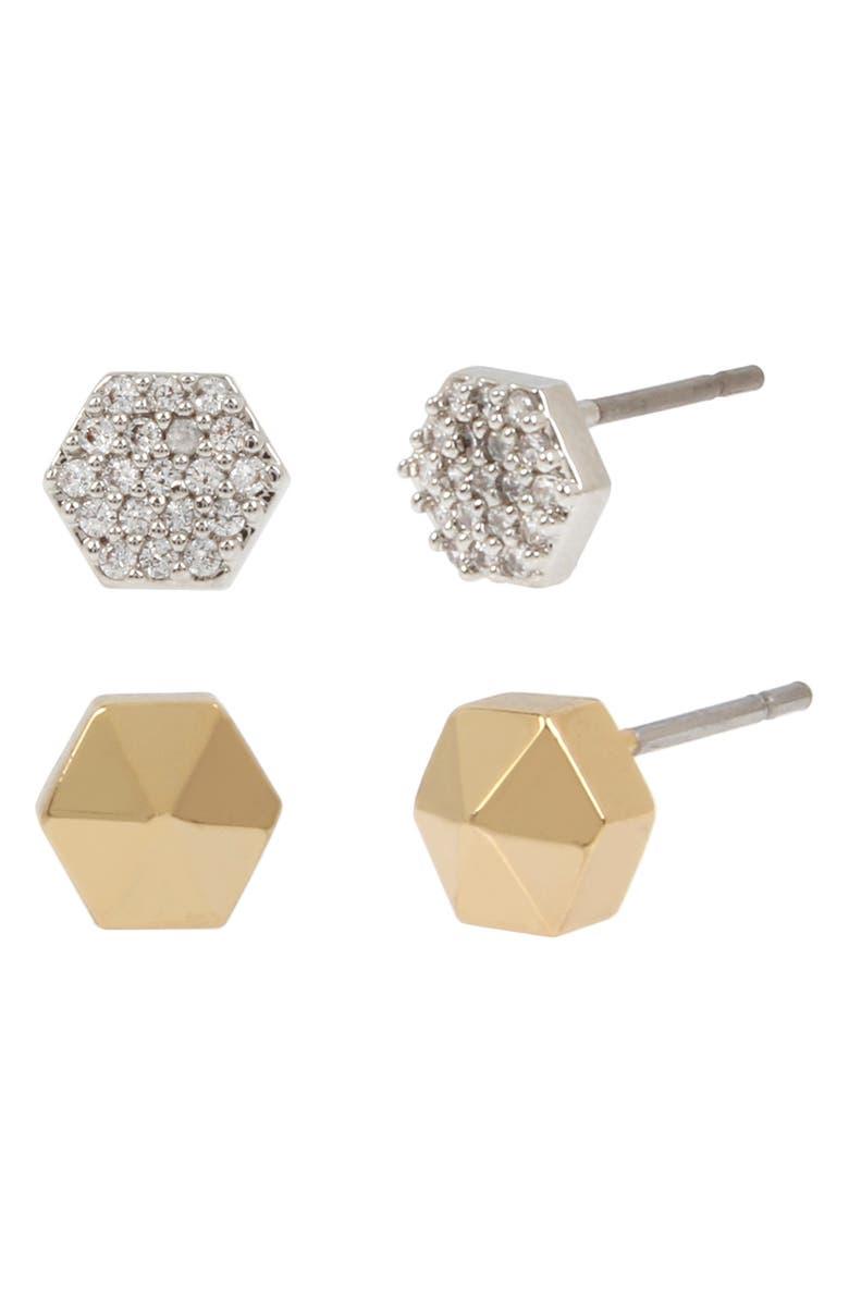 ALLSAINTS Set of 2 Hex Stud Earrings, Main, color, GOLD/ RHODIUM
