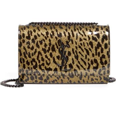 Saint Laurent Kate Glitter Leopard Leather Shoulder Bag - Metallic