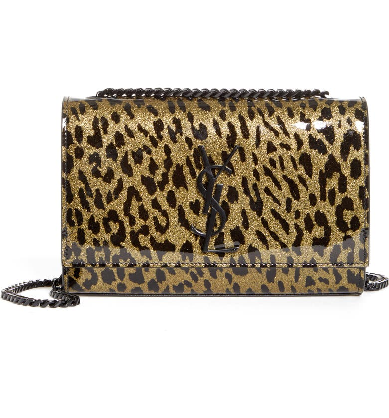 SAINT LAURENT Kate Glitter Leopard Leather Shoulder Bag, Main, color, OR CLAR/ NOIR