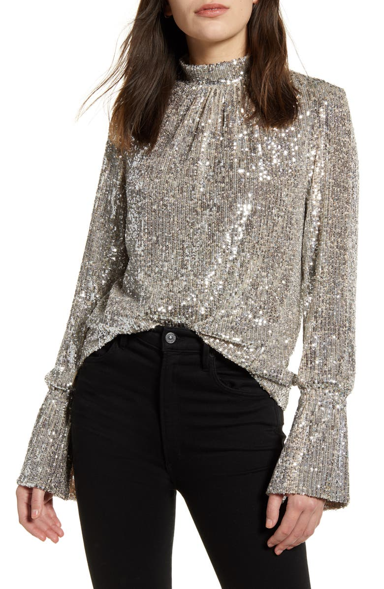 ZADIG & VOLTAIRE Sequin Bell Sleeve Top, Main, color, 710